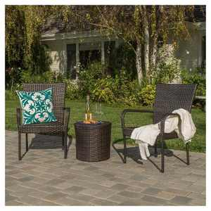 Littleton 3pc All-Weather Wicker Patio Stacking Chair Chat Set - Brown - Christopher Knight Home