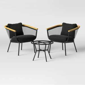 Bangor 3pc Metal Mesh & Faux Wood Patio Chat Set - Project 62™