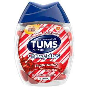 Tums Chewy Bites Peppermint Extra Strength Chewable Antacid for Heartburn - 60ct