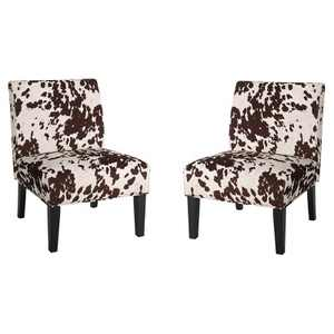 Set of 2 Kassi Cowhide Print Upholstered Accent Chair - Christopher Knight Home