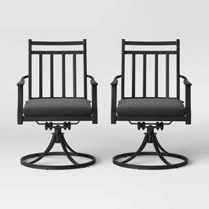 Fairmont 2pk Metal Swivel Rocking Patio Dining Chair Charcoal - Threshold™