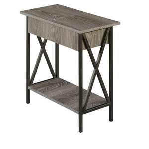 Tucson Flip Top End Table with Charging Station Weathered Gray - Breighton Home