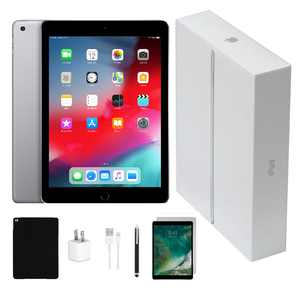 Open Box | Apple iPad 6 | 32GB Space Gray | Wi-Fi Only | Bundle: Tempered Glass, Case, Charger & Stylus Pen comes in Original Packaging