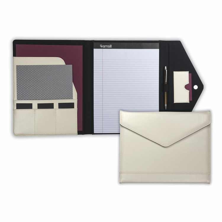 Samsill Envelope Padfolio with Magnetic Closure, Cream