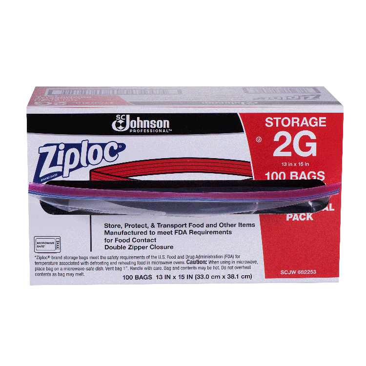 Ziploc Pinch & Seal Storage Bags, 2 Gallon, 100 Count