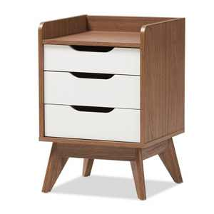 Brighton Mid - Century Modern Wood 3 - Drawer Storage Nightstand - Brown - Baxton Studio