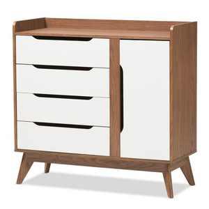 Brighton Mid - Century Modern Wood Storage Shoe Cabinet - Brown - Baxton Studio