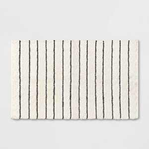 Striped Bath Rug White/Black - Opalhouse™