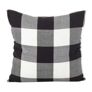 "20""x20"" Square Buffalo Check Plaid Design Cotton Down Filled Throw Pillow Black/White - Saro Lifestyle"