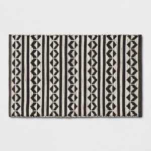 """2'6""""X4' Geometric Woven Accent Rugs Black - Project 62™"""