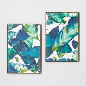 "24"" x 36"" Tropical Palm 2pk Framed Wall Canvas Blue - Opalhouse™"