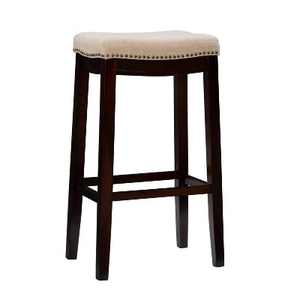 Nail Head Backless Barstool Upholstered Seat - Beige/Walnut - Linon