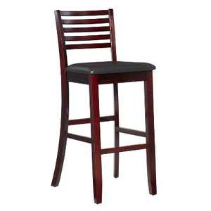 "30"" Torino Ladder Back Barstool Upholstered Seat - Espresso Wood - Linon"