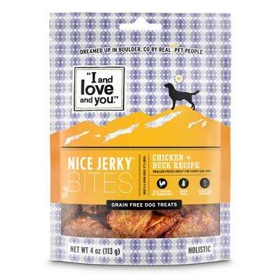 I and Love and You Nice Jerky Chicken + Duck Natural Dog Treats - 4oz