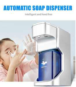 No Touch Soap Dispenser, Auto Touchless Infrared Motion Sensor Soap Dispenser, Electric Soap Dispensers with Display, 400ML Automatic Hand Soap Dispenser for Bathroom Office Kitchen, Silver, W10468