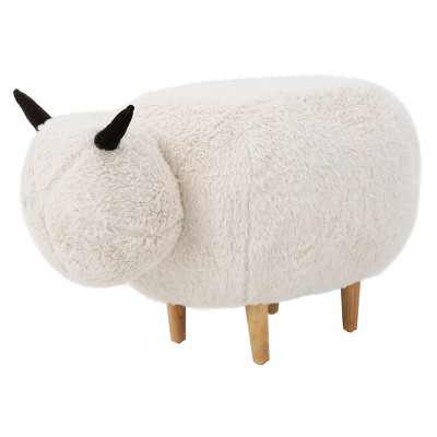Pearcy Sheep Ottoman - White - Christopher Knight Home