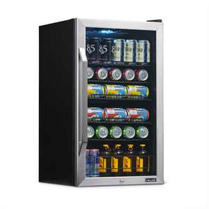 NewAir Premium Stainless Steel 126 Can Beverage Refrigerator and Cooler with SplitShelf Design, AB-1200X