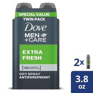 Dove Men+Care Dry Spray Antiperspirant Deodorant Extra Fresh, 3.8 Oz., 2 Count