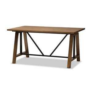 Nico Rustic Industrial Metal and Distressed Wood Adjustable Height Work Table Brown - Baxton Studio