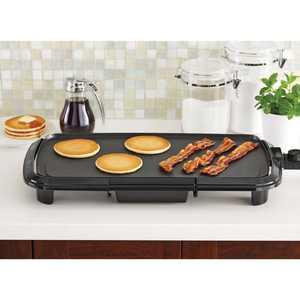"""Mainstays Dishwasher-Safe 20"""" Black Griddle with Adjustable Temperature Control"""
