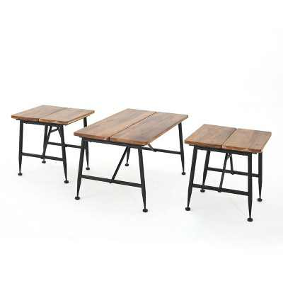 Ocala Set of 3 Acacia Industrial Tables - Antique Black - Christopher Knight Home