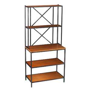Chancellor Two-Tone Mixed Material Bakers Rack Black/Honey Pine Brown - Aiden Lane