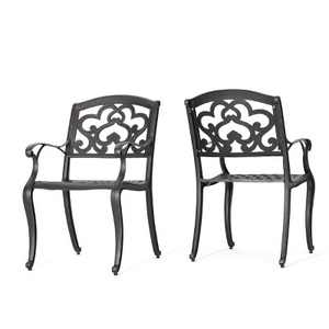 Austin 2pk Cast Aluminum Dining Chairs - Shiny Copper - Christopher Knight Home