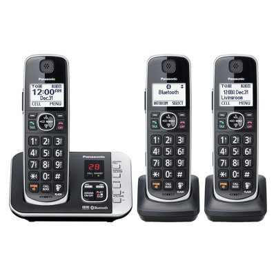 Panasonic Cordless Phone with Link to Cell and Digital Answering Machine, 3 Handsets - Black (KX-TGE663B)
