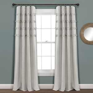 "Lush Decor Vintage Stripe Ruffle 84"" x 40"" Stripe Gray 100% Cotton 3"" Rod Pocket Pair Window Panel"