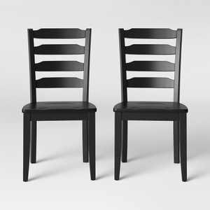 2pk Colebrook Ladder Back Dining Chair Black - Threshold™
