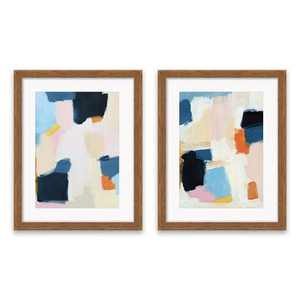 """(Set of 2) 16.25""""x20.25"""" Abstract Framed Print Decorative Wall Art Blue/Pink - Project 62™"""