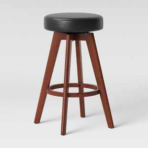 Banning Modern Round Swivel Counter Height Barstool Espresso Faux Leather - Project 62™