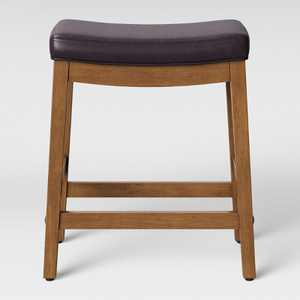 Belvidere Faux Leather Saddle Counter Height Barstool Espresso Faux Leather - Threshold™