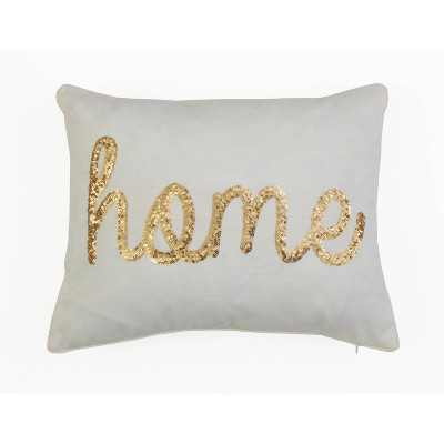 "Décor Therapy 14""x18"" Home Sequin Script Faux Linen Throw Pillow Cream/Gold"