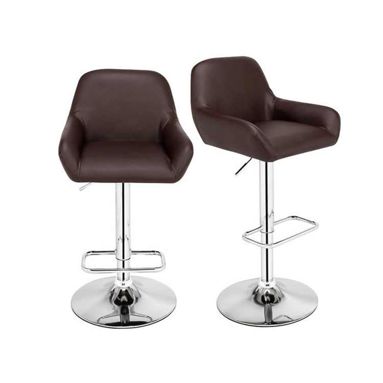 Zimtown Set of 2 Brown PU Leather Modern Adjustable Swivel Hydraulic Chair Bar Stools with Back