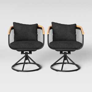 Bangor 2pk Swivel Rocker Patio Dining Chair Charcoal - Project 62™