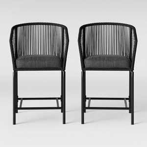 Standish 2pk Bar Height Patio Chair Charcoal - Project 62™