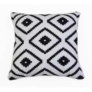 """Décor Therapy 18""""x18"""" Allister Aztec Embroidered Throw Pillow Black/White"""