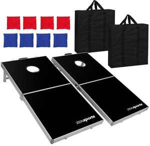ZENY 4' x 2' Aluminium Foldable Bean Bag Toss Cornhole Board Game Set Regulation Size Cornhole Boards & 8 Bags Set Playset Backyard Outdoor