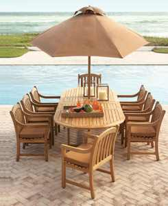 "Bristol Outdoor Teak 9-Pc. Dining Set (118"" x 47"" Dining Table and 8 Dining Chairs),  Created for Macy's"