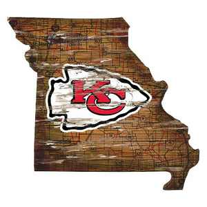 "NFL Kansas City Chiefs 12"" State Map Wood Sign"