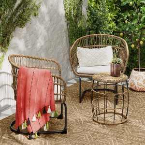 Southport 3pc Wicker Motion Patio Chat Set Linen - Opalhouse™