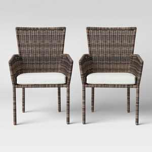 Monroe 2pk Patio Stack Dining Chair Linen - Threshold™