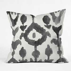 Natalie Baca Painterly Flower Ikat Throw Pillow Black / White