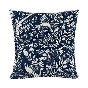 Navy Bird Print Throw Pillow - Skyline Furniture