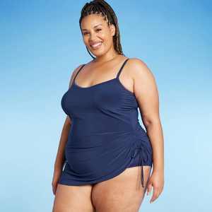 Women's Plus Size Side-Tie Swim Dress - Aqua Green