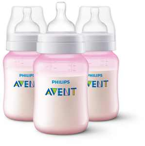 Philips Avent 9 oz Pink Edition Anti-Colic Wide-Neck Bottles 1m+, 3 count