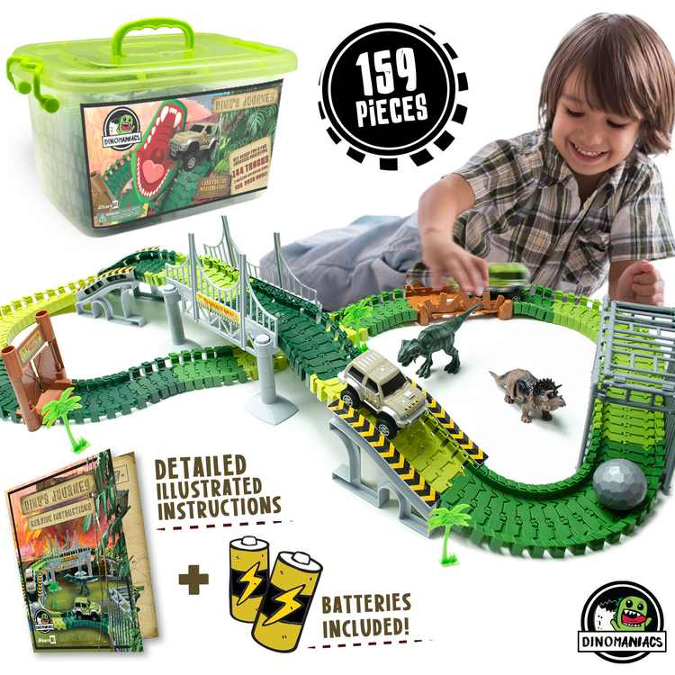 Dinosaur Toys Track For Boys and Girls - STEM Toys Activities for Kids - Build An Adventure Race Car Track Set Learning Toy - Best Dinosaur Gifts For Boys, Girls and Toddlers Ages 3, 4, 5, 6, 7, 8, 9+