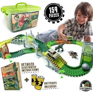 Jittery Git Dinosaur Track Truck Vehicle Playset (159 Pieces)