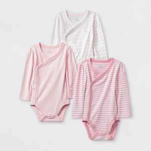 Baby Girls' 3pk Side Snap Bodysuits - Cloud Island™ 12M